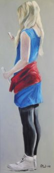 Young Girl in Blue Dress Acryl auf Leinwand 50 x 100 cm | Regina Wiechern